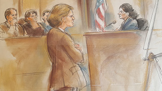 sarah prescott in court room.